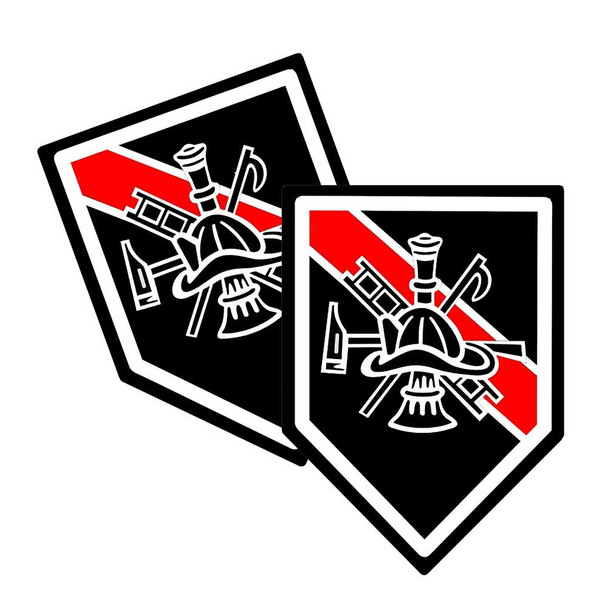 Thin Red Line Hook & Ladder Unit Shield Shaped Decal Package of 4