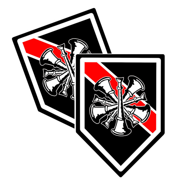 Thin Red Line Chief of the Department Bugle Unit Shield Shaped Decal Package of 4
