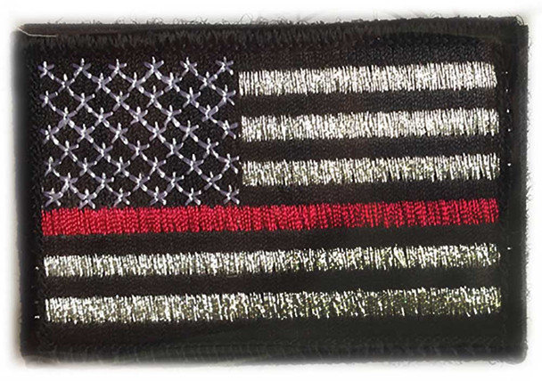 Thin Red Line American Flag Embroidered Velcro Patch - PACKAGE OF 4