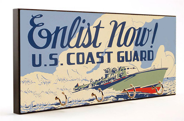 Vintage Enlist Now US Coast Guard Key Hanger