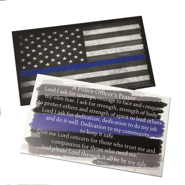 Prayer Cards - Police Officer's Prayer and The Thin Blue Line Subdued American Flag Packs of 50