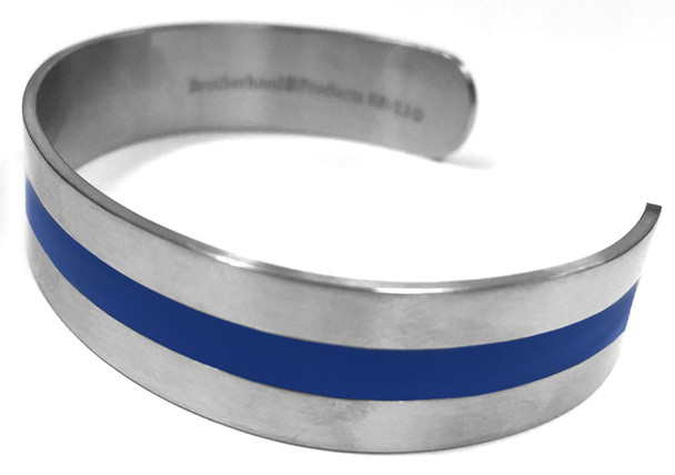 .5 Inch Thin Blue Line Stainless Steel Bangle Squeeze Bracelet