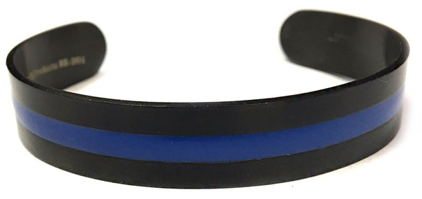 .5 Inch Thin Blue Line Black Bangle Squeeze Bracelet - Law Enforcement