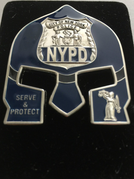 NYPD POLICE  WARRIOR  BLUE FACE COIN