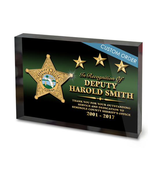 CUSTOM ACRYLIC BLOCK RECOGNITION AWARD (WPABGBG) - PERSONALIZED
