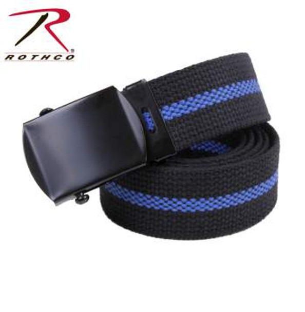 """The military style web belt measures 1 1/4"""" wide and is a black belt with a thin blue line down the middle, in honor of our law enforcement."""