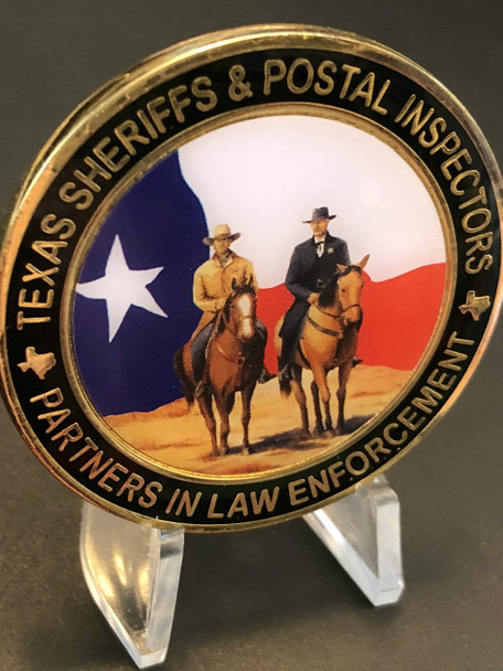TEXAS SHERIFFS POSTAL INSPECTORS RIDERS CHALLENGE COIN VERY RARE 2014