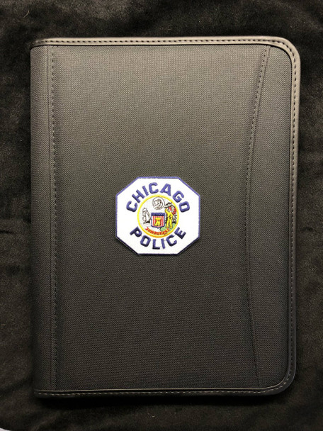 CHICAGO POLICE PATCH BLACK PADFOLIO Spine left