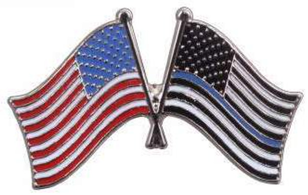 Thin Blue Line US Flag Pin