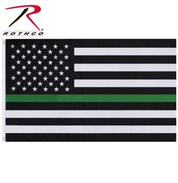 Thin Green Line Flag measures 3' x 5' and is made of a 100% non-shiny polyester material.  Shows Your Support Of Park Rangers, Game Wardens, And Conservation Personnel Durable Double Stitched Non-Shiny Polyester Two Strong Grommets For Hanging Proceeds From These Purchase Benefit Families Of Fallen First Responders US Flag Measures 3' X 5' In Size