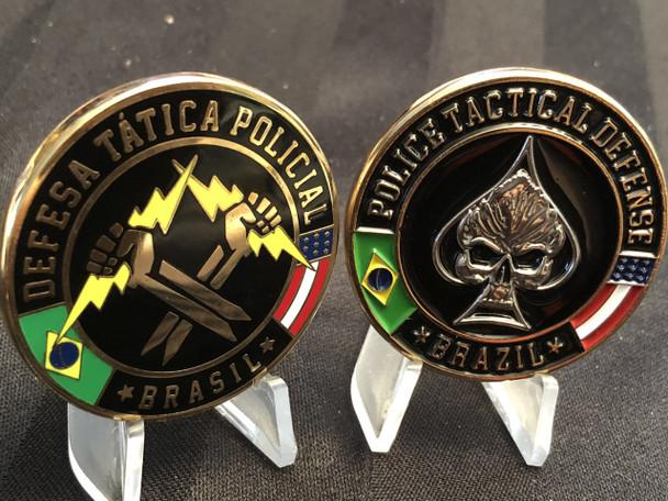 BRAZIL POLICE TACTICAL DEFENSE COIN VERY RARE