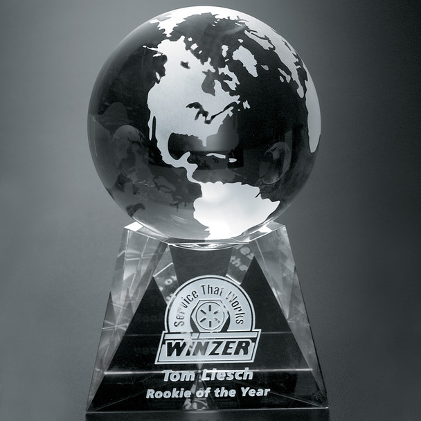 Global leaders deserve global honors. Select the Triad Globe, a crystal globe atop a faceted pedestal, for international sales leaders or worldwide success. Globe not attached to base.