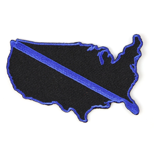 Blue Line US Map Police Patch