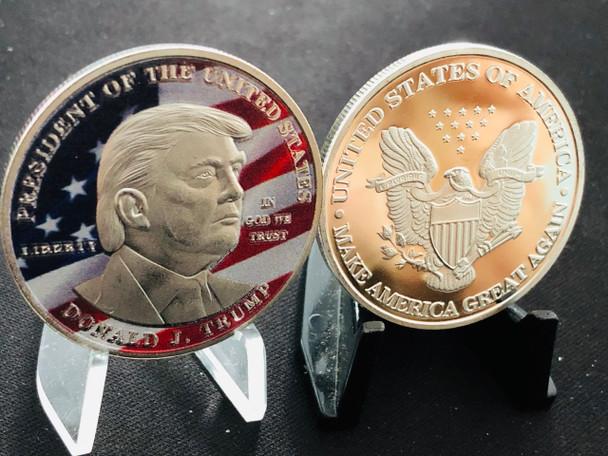 PRESIDENT TRUMP COIN  COLOR USA FLAG EAGLE