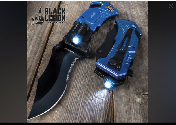 Black Legion Police Assisted Knife with Flashlight