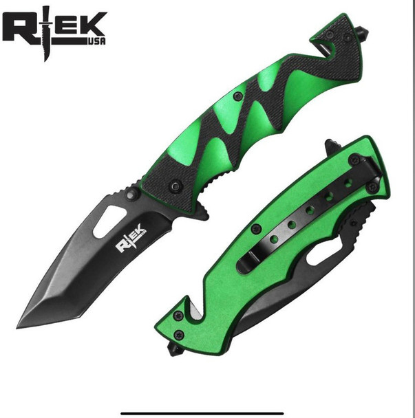 "Black & Green 4.5"" ASSIST-OPEN RESCUE KNIFE"