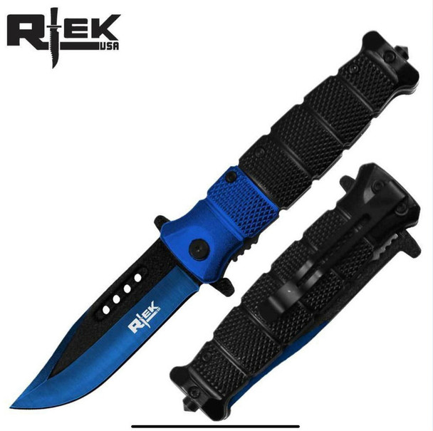 "BLUE/BLACK HANDLE & BLADE 4.5"" ASSIST-OPEN RESCUE KNIFE"