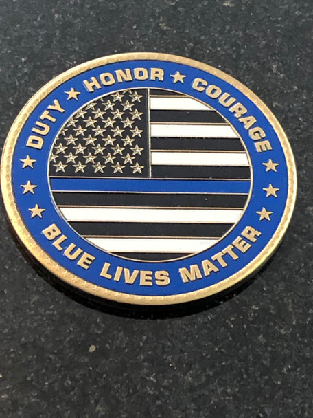 BLUE LIVES MATTER PAPERWEIGHT USA MADE COIN & GRANITE