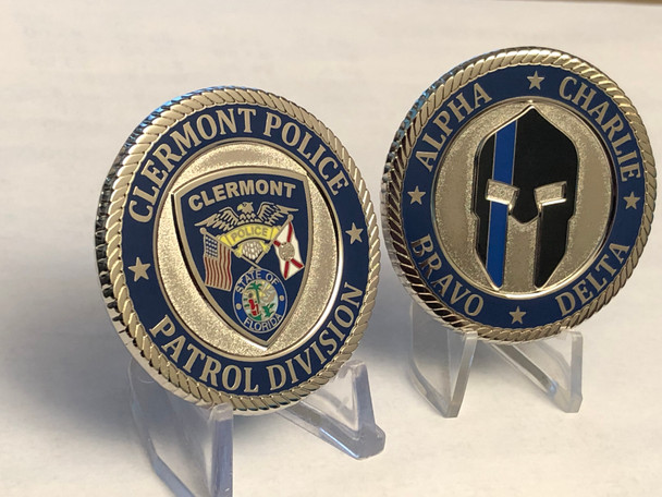 CLERMONT POLICE PATROL DIVISION CHALLENGE COIN HUGE 2 INCH COIN
