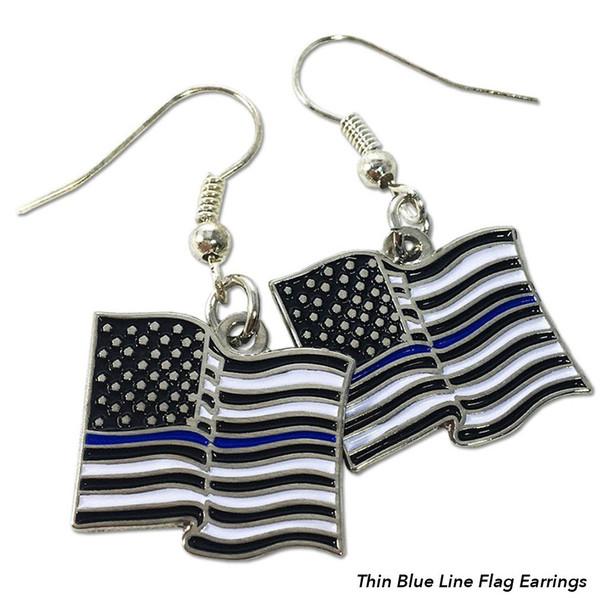 Thin Blue Line Flag Earrings