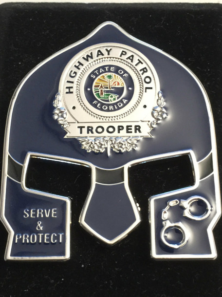 FHP WARRIOR FACE TROOPER COIN - BLUE FACE GOLD BADGE