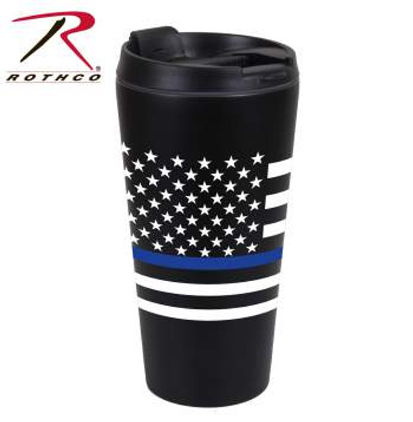 """Show your support for the men and women in blue with Rothco's Thin Blue Line Flag Travel Mug. The Thin Blue Line Shows Respect And Support For Police And Law Enforcement Officials. Thin Blue Line US Flag Travel Mug Holds 16 Fluid Ounces Double Walled, Stainless Steel Insulation US Flag With Thin Blue Line Printed On Front Screw Off Cap With Flip Top For Drinking Measures 6.75"""" Height By 3.5"""" Diameter At Widest Point Proceeds From This Purchase Benefit Families Of Fallen First Responders"""