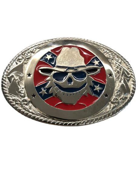 SOUTHERN FLAG WITH SKULL SILVER TONE BUCKLE