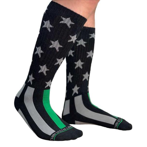 THIN GREEN LINE FLAG PERFORMANCE SOCKS