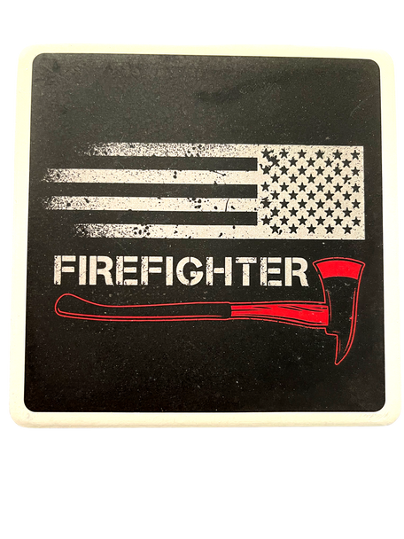 FIREFIGHTER Square Absorbent Stone Coaster