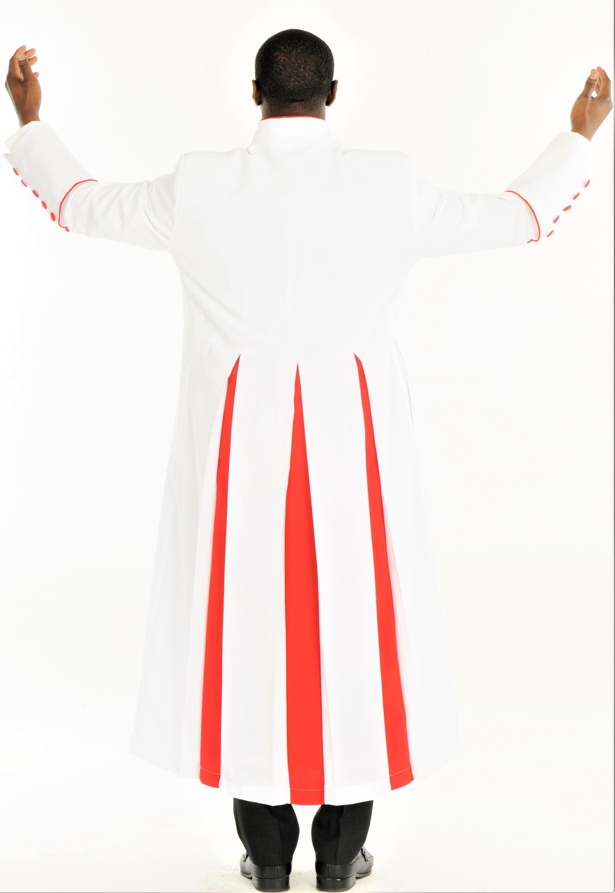 004 Men S Adam Clergy Robe Stole In White Red Divinity Clergy Wear