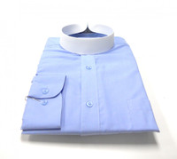 Light Blue Banded Collar Bishop Clergy Shirt From Divinity