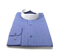 Denim Blue Banded Collar Bishop Clergy Shirt From Divinity