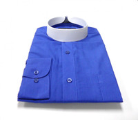 Royal Blue Banded Collar Bishop Clergy Shirt From Divinity