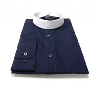 Navy Blue Banded Collar Bishop Clergy Shirt From Divinity