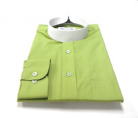 Dark Olive Banded Collar Bishop Clergy Shirt From Divinity