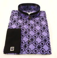 Double Banded Collar Embroidery Clerical Shirt In Purple