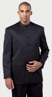 5-Button Pin-Stripe Banded Collar Clerical Suit - 3 Colors Available