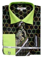 DS3784P2: Designer Dress Shirt, Tie, Handekerchief, & Cufflink Set - (5) Colors Available