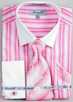 FRV4130P2: Designer Dress Shirt, Tie, Handekerchief, & Cufflink Set - (5) Colors Available