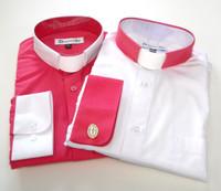 Fuschia & White Two Tone Affordable Tab Collar Clergy Shirt
