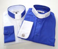 Royal Blue & White Two Tone Affordable Tab Collar Clergy Shirt