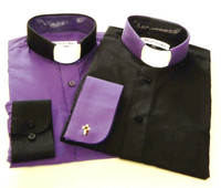 Purple & Black Two Tone Affordable Tab Collar Clergy Shirt