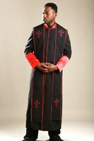 004.  Men's Clergy Robe & Stole Set in Black and Red