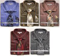 01. DS3793P: Designer Dress Shirt, Tie, Handekerchief, & Cufflink Set - (5) Colors Available