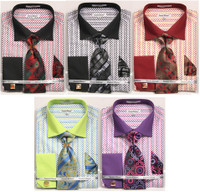 01. DS3794P: Designer Dress Shirt, Tie, Handekerchief, & Cufflink Set - (5) Colors Available