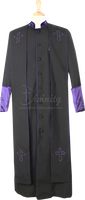 004.  Men's Asbury Clergy Robe & Stole Set In Black & Purple