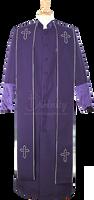 004.  Men's Asbury Clergy Robe & Stole Set In Purple & White