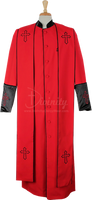 004.  Men's Asbury Clergy Robe & Stole Set In Red & Black