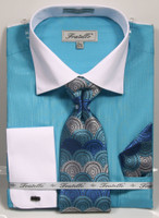 01. FRV4140: Designer Dress Shirt, Tie, Handekerchief, & Cufflink Set - 5 Colors Available