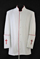 001. Men's Preacher Clergy Jacket in White & Red
